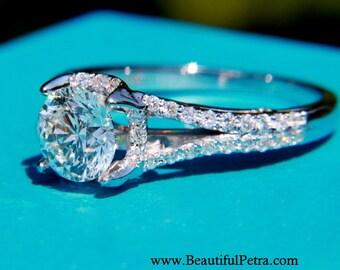 BAGUE fendue - ronde - ensemble tige - Halo - Pave - Style Antique - Alliance diamant bague de fiançailles assorties - 14K or blanc - Bp001