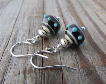 Lampwork Glass Earrings, artisan lampwork glass, polka dot, blue and brown, dangle earrings
