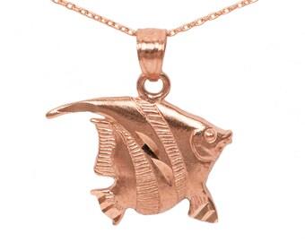 10k Rose Gold Fish Necklace