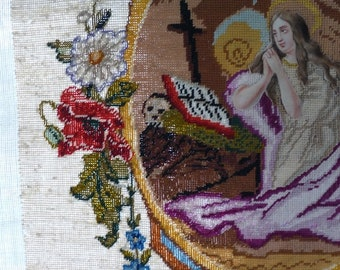 Antique French Mary Magdalene Tapestry , A Rare Talisman for the Alchemist, offered by RusticGypsyCreations