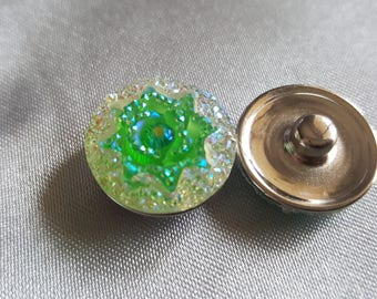 Resin flower Bracelet Necklace custom snap buttons