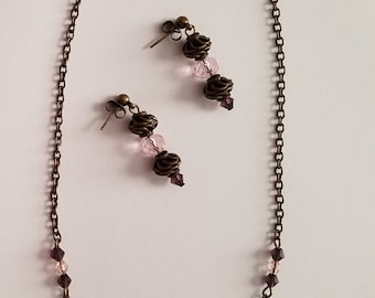 Necklace and Earring Set Vintage style Bronze
