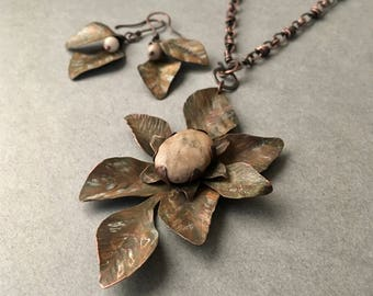Statement sandstone necklace set, hand forged inked metal flower design, handmade chain