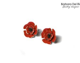 Silver Poppies Red Earrings