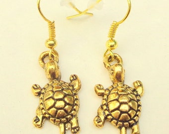 HOLIDAY SALE, Antiqued Gold Earrings, Gold Turtle Earrings, Drop Earrings, Dangling Turtles,OOAK
