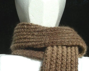 Scarf Brown Taupe shades of natural undyed Baby Alpaca and Merino wool soft cuddly hand knit