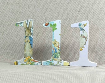 Hand painted Peter Rabbit Number One, these make great Cake Toppers for 1st Birthdays + Free Hand drawn Date Tag!