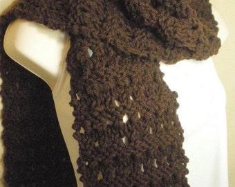Dark Brown Knit Eyelet Fashion Scarf Handmade