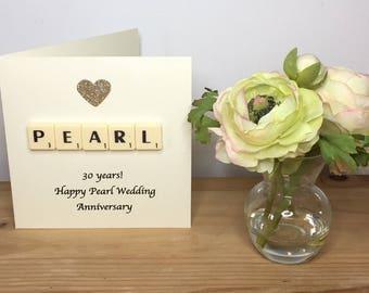 30th Wedding Anniversary, Pearl Wedding Anniversary, Pearl Anniversary Card, Scrabble Greeting Card, Thirtieth Anniversary, Pearl Wedding