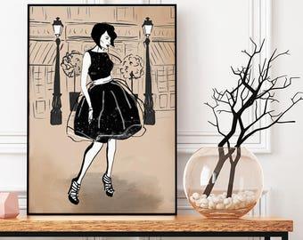 Penelope Black dress, neutral background, Fashion Illustration, print, poster