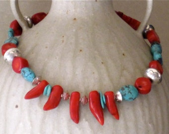 """Dramatic Coral,Turquoise & Sterling Silver """"Chile Pepper' Necklace"""