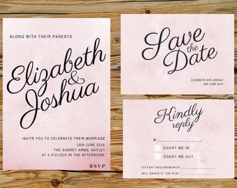 Pink Wedding Invitation, Printable Invitation Template, Invitation Suite, Wedding Set, Editable Wedding Invite, Invitation Set, C6