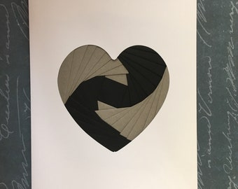 Iris folded heart shape greeting card - black and grey
