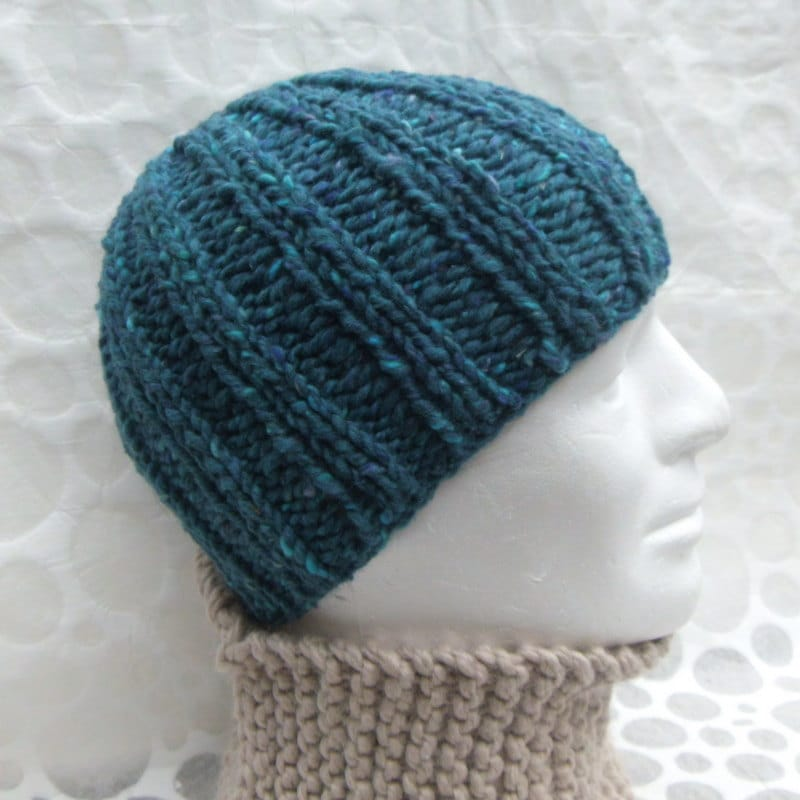 KNITTING PATTERN/RUSTICO Mans Beanie Simple Chunky Ribbed