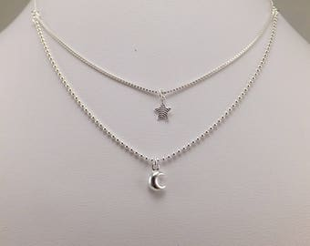 """Sterling Silver layered Chain Necklace Star and Moon 14""""-16"""" Adjustable Free Shipping U.S Very Stylish"""