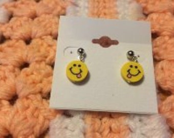 Smiley Face Post Earrings Polymer/Fimo