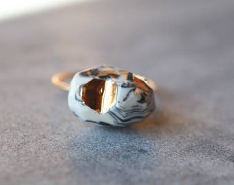 Ready to ship,ooak,  Kitinen, porcelain ring, glazed and painted with gold , one of a kind (OOAK), made with a vermeil ring