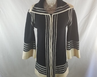 Vintage Tami Knit Cardigan Zipper Front Sweater Black White L