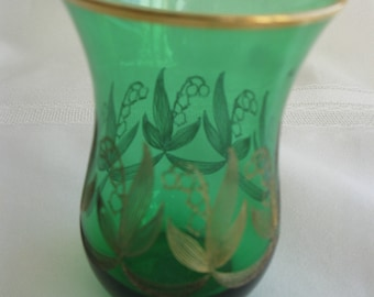 Elegant Emerald green and gold vase