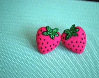 Strawberry Earrings -- Pink Strawberry Earrings, Strawberry Studs, Witty Earrings