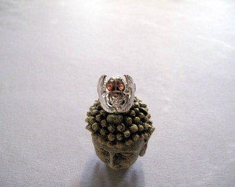 Scarab Ring set with Sapphires made of Sterling Silver