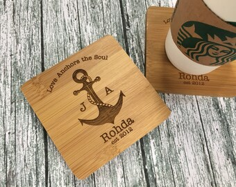 Anchor Coasters | Nautical Wedding Gift | Wedding Gifts Personalized | Personalized Coasters | Nautical Decor | Engraved Coaster Set of 4