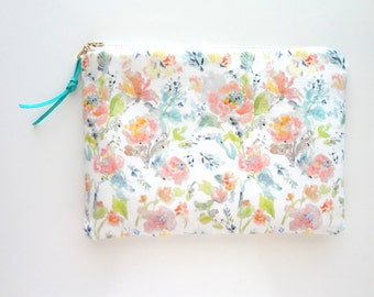 Peach Floral Cosmetic Pouch, Watercolor Flowers Pouch, Designer Fabric