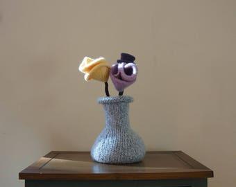 Hand felted floral arrangement, hand knit