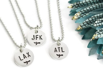 Airport Code Necklace | Flight Attendant Gift | Pilot Gift | Flight Attendant Jewelry | Stewardess Gift | Airplane Necklace Airplane Jewelry