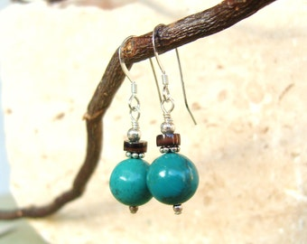 Round Turquoise Earrings. Chocolate Heishi Shell & Bali Sterling Silver Dangle Earrings. Genuine Turquoise Drop Earrings. Turquoise Jewelry