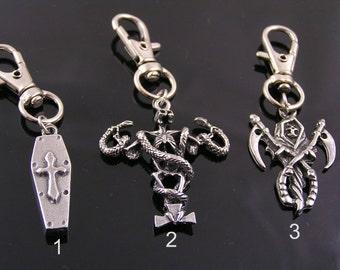 Zipper Pull - Choose one, Reaper, Coffin Charm, Skeleton, Great Biker Gift, Gothic Charm, Zipper Pull Charm, Zipper Pulls for Purses, P298