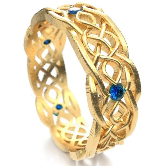 Gold Celtic Wedding Ring With Cut-Through Infinity Symbol Pattern & Blue Sapphires in 10K 14K 18K Gold, Palladium or Platinum Cr-1049
