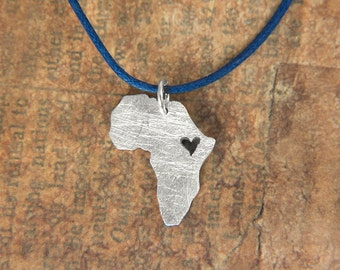 Africa Map with Heart over Ethiopia Pendant Personalized Africa Necklace Sterling Silver 935 in a kraft gift box with an Extra Free Gift.