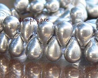 Metallic Silver Drops,  Czech Glass Beads, 4x6mm Teardrops: 50 Pcs