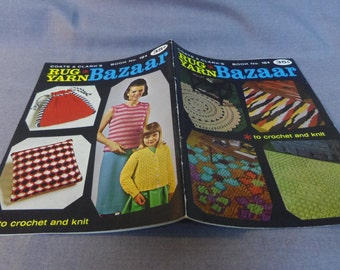 Crochet and Knit Patterns, Rug Yarn Bazaar, Rugs, Fashion, Slippers, Satchel, Coats & Clark Book 184, 1968