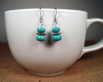 Silver Howlite Turquoise Bohemian Statement Dangle Earrings