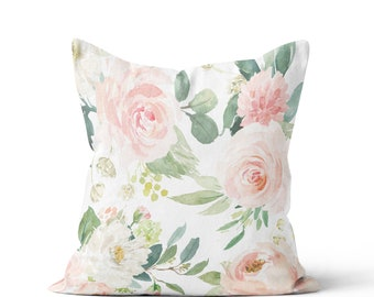 Floral Pillow Cover Spring Accent Pillow Blush Peony Carolina