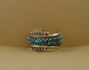 Large Vintage Turquoise Bracelet, Native American made, handmade sterling silver and turquoise, color blue, vintage cuff bracelet