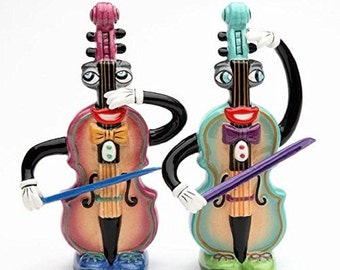 4 Inch Multicolored Violin Musical Muse Salt and Pepper Shakers