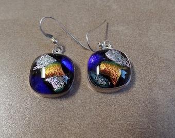Dichroic Glass Earrings, Fused Glass Jewelry, Dichroic Glass Jewelry, Silver Glass Earrings, Sterling Glass Earrings, 925, Under 50, 1071