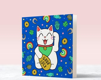 Lucky Cat Card | good luck card - new job card - graduation card - encouragement card - greetings card - funny card - new job - driving test