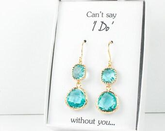 Long Aquamarine Gold Earrings, Gold Aquamarine Earrings, March Birthstone Gold Earrings, Bridesmaid Jewelry, Blue Wedding Jewelry