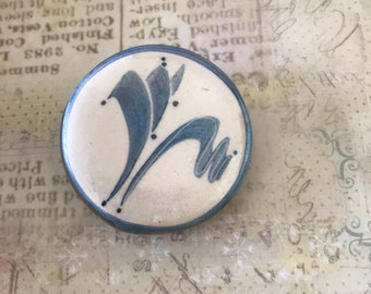 Blue ceramic abstract brooch with AFI initaled on back- interesting unusual piece