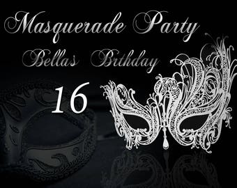 Large Custom Masquerade Party Banner, Mardi Gras, Masquerade mask, Silver Masquerade mask, Masquerade party decorations  ;1400072