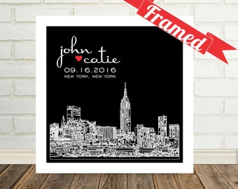 New York Skyline Wedding Gift Personalized  New York City Wedding Skyline Framed Art Print NYC Wedding NYC Bride NYC Engagement Any City