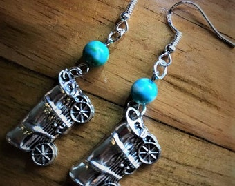 Cute Gypsy Wagon Handmade Earrings 925 Silver hooks