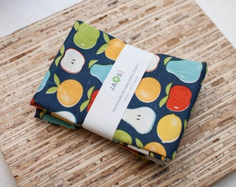 Large Cloth Napkins - Set of 4 - (N4601) - Navy Fruits Modern Reusable Fabric Napkins
