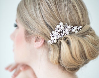 Wedding Hair Comb,  Bridal Headpiece, Crystal and Pearl Hair Comb, Wedding Hair Accessory