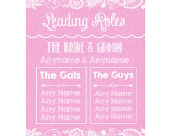 Pink Burlap & Lace Who's Who Leading Roles Personalised Wedding Sign