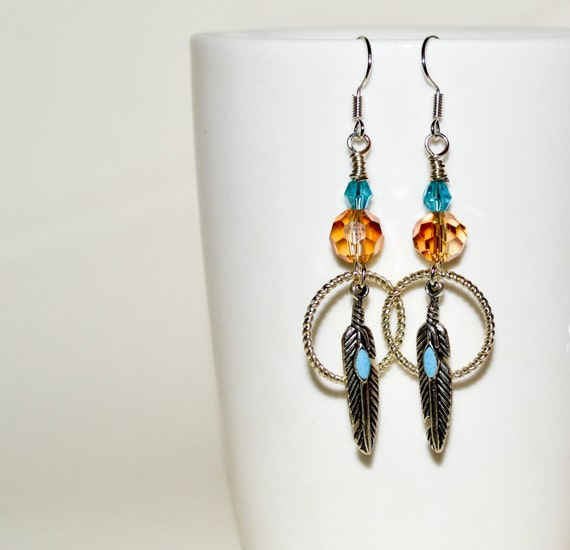 Feather Earrings, Drop Earrings, Dreamcatcher Earrings, Turquoise and Amber, Southwestern Style Dangle Earrings, Boho Earrings, Boho Jewelry